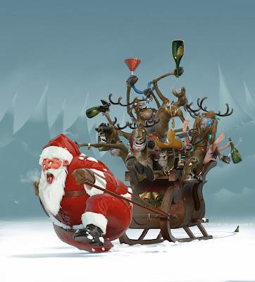 Weihnachtsmann zieht Schlitten - Rentiere besaufen sich lustig