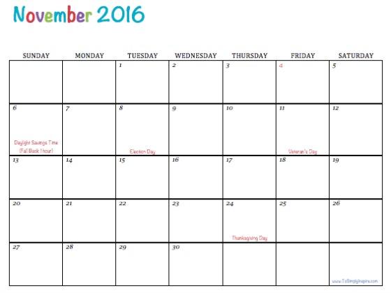November Calendar 2016 Printable Pdf : Get printable calendar november