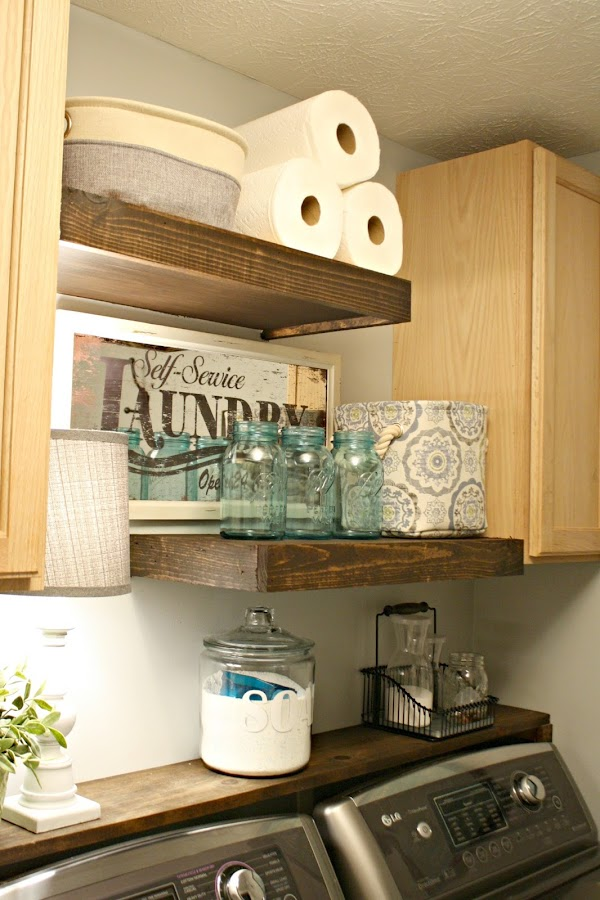 Lg washer and dryer review four years later from thrifty for Laundry room shelving