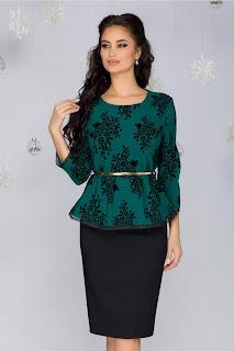 Compleu Sandra negru-verde cu insertii florale