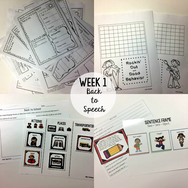 Back to School by All Y'all Need. Activities for the first week of speech & language therapy.