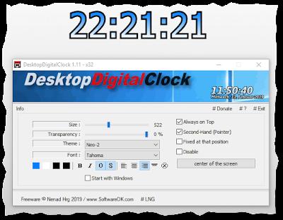 Relog digital para el escritorio de Windows