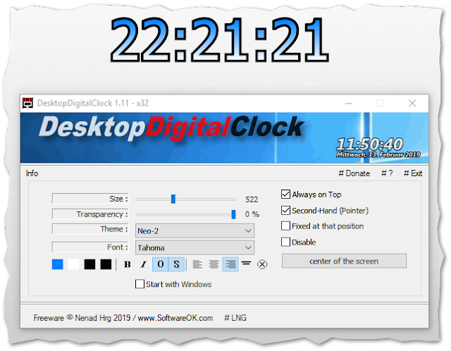 DesktopDigitalClock 1.11 | Reloj digital para el escritorio de Windows