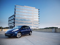 If, by 2050, all new car sales and about 65 percent of all cars on the road are electric, like the 2016 Nissan LEAF pictured here, health- and climate-related costs in the US could drop by $21 billion. (Credit: John Murphy/Nissan) Click to Enlarge.