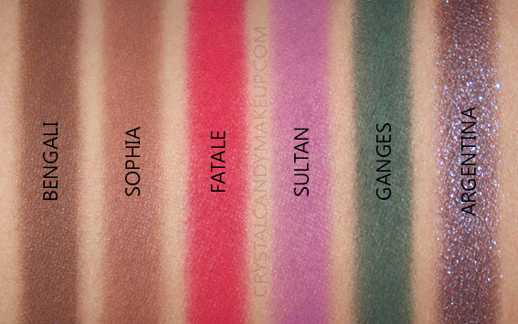 NARS Single Eyeshadows New Formula Swatches Bengali Sophia Fatale Sultan Ganges Argentina