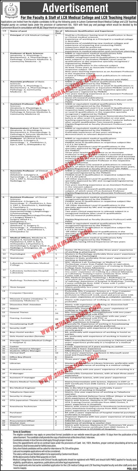 Jobs in Lahore Cantonment Board Jobs September 2020 (333 Posts)