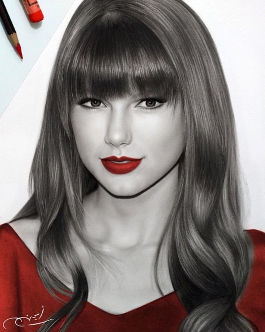 02-Taylor-Swift-Aymanarts-Realistic-3D-Illusion-Portrait-Drawings-www-designstack-co