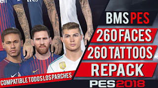 PES 2018 260 Faces and Tattoos RePack by bmS