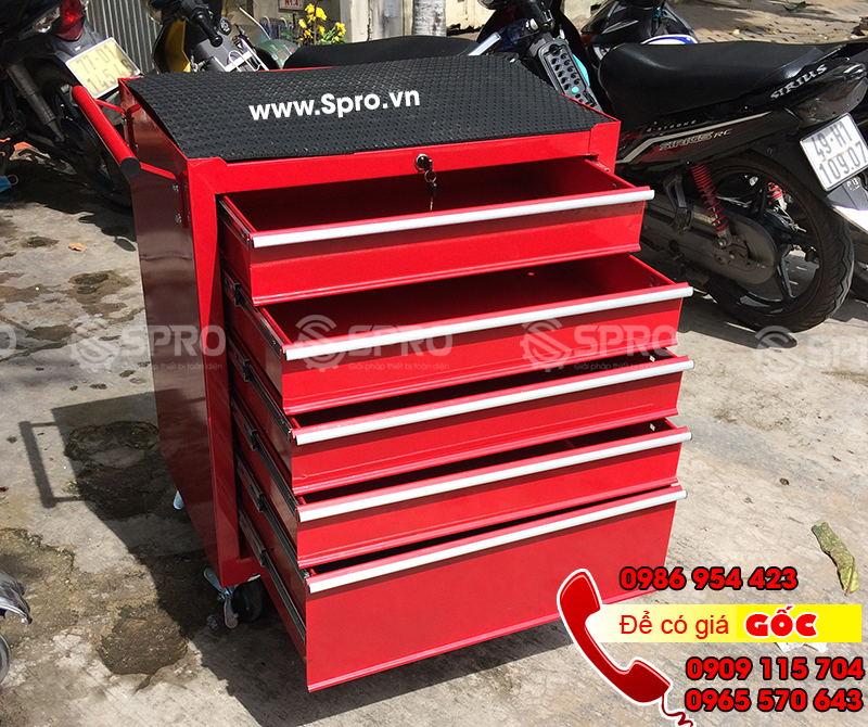 Tủ 5 ngăn, tủ kéo đựng đồ nghề dụng cụ 5 ngăn có khóa 4 bánh xe