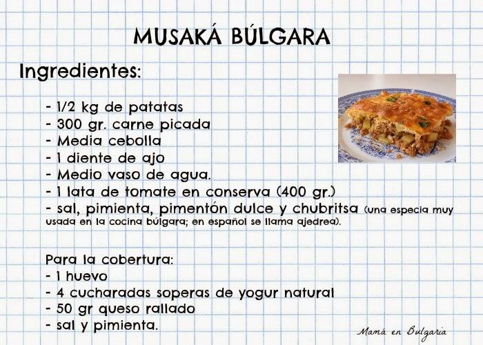 Ingredientes para la musaka búlgara receta