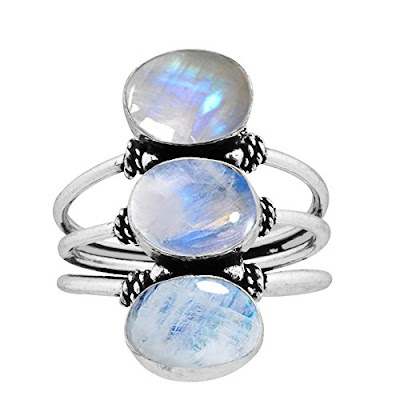9.80ct, Genuine Rainbow Moonstone 8x10mm Oval & .925 Silver Overlay Handmade Fashion Rings at Amazon.com