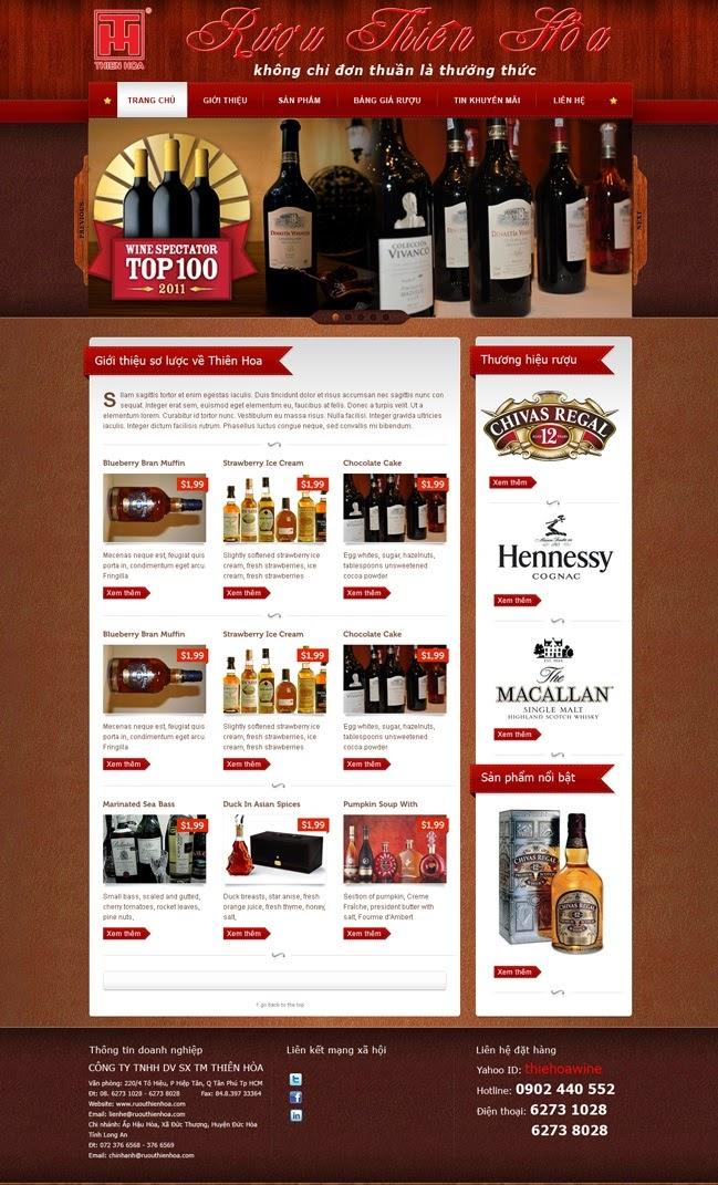 thiết kế website bán hàng rượu giá rẻ
