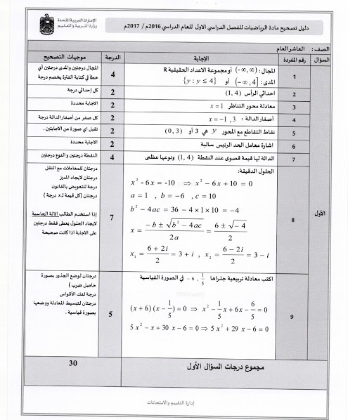 نموذج اجابة امتحان الرياضيات للصف العاشر فصل أول 2016/2017