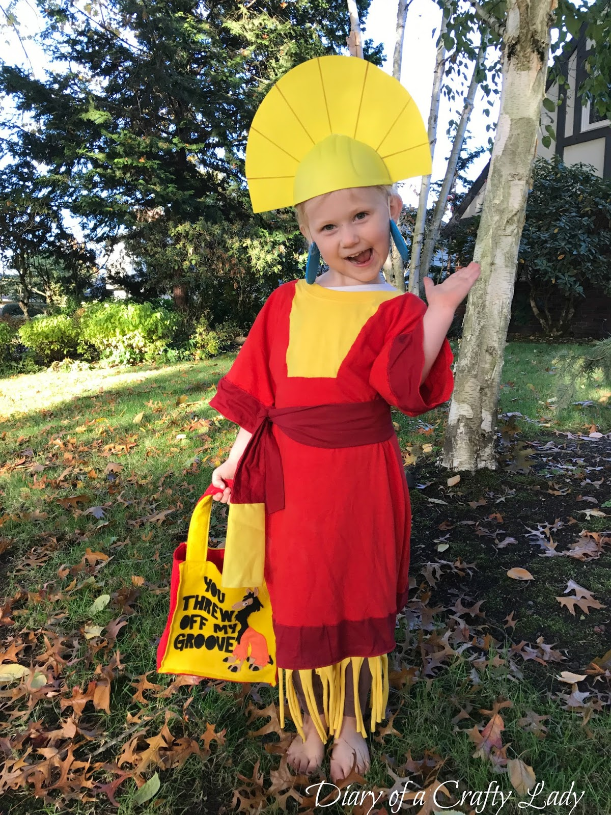our sassy 4 year old was emperor kuzco and she really pulled it off no touchy was her favorite phrase particularly when referring to her halloween