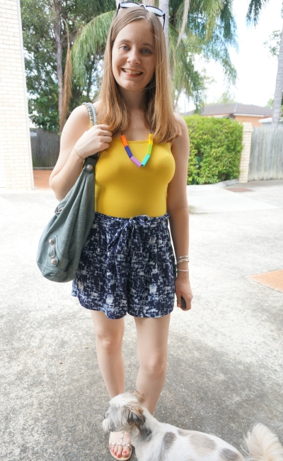 Away From Blue: Printed Shorts with Neutral and Bright Fitted Tanks
