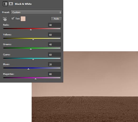 Pengaturan-dan-hasil-merubah-warna-dengan-black-and-white-di-Photoshop