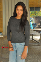 Actress Bhanu Tripathri Pos in Ripped Jeans at Iddari Madhya 18 Movie Pressmeet  0070.JPG