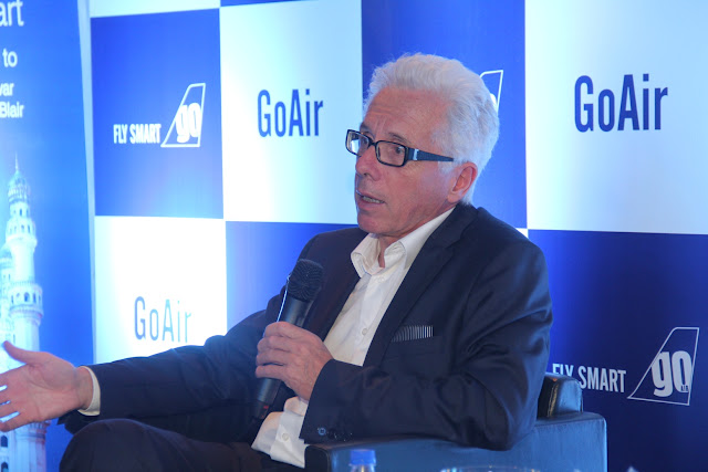 Mr. Wolfgang Prock, the CEO of Go Air addressing the media at the launch of its services in Hyderabad - 2