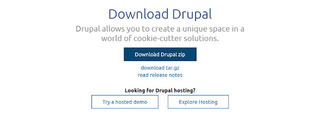 Download Drupal | Drupal.org https://www.drupal.org/download  Drupal allows you to create a unique space in a world of cookie-cutter solutions. ... Learn how to plan, install, extend, and customize a Drupal 8 application by ...