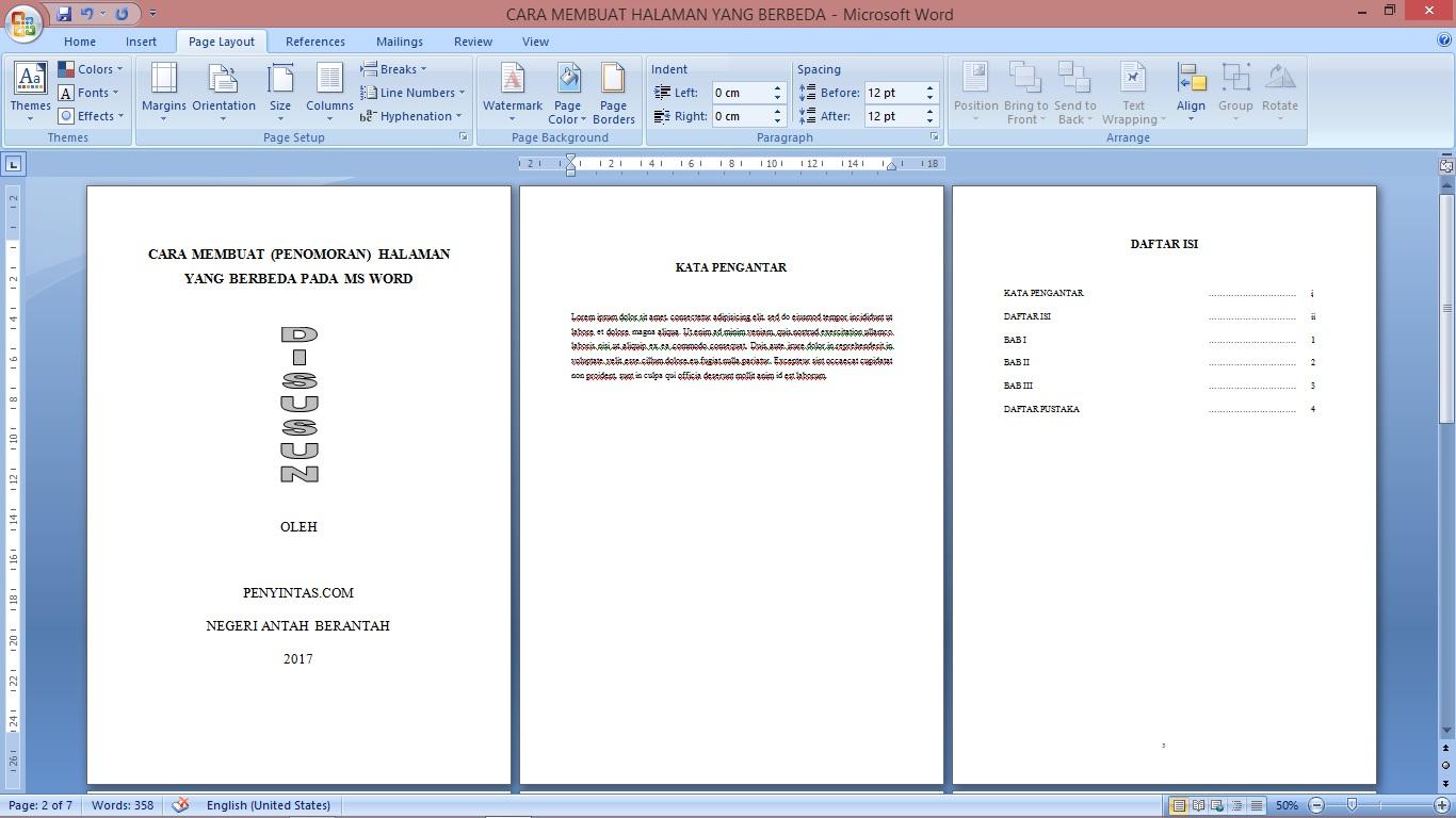 Cara Membuat (Penomoran) Halaman Berbeda pada MS Word