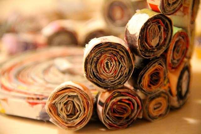 Ваза из газетных трубочек без плетения - МК