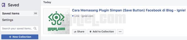 Cara Memasang Tombol Simpan ke Facebook di Dalam Artikel Blog