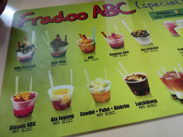 Menu dengan harga berpatutan di gerai Fradoo ABC