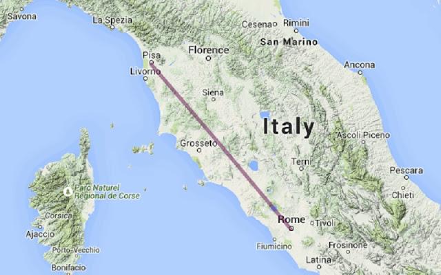 Mapa da viagem de Roma para Pisa