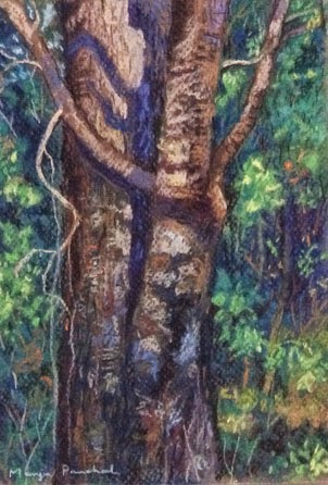 Soft pastel painting of a tree in Matheran by Manju Panchal