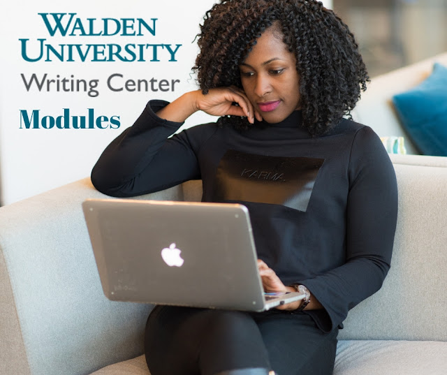Woman working on a computer with image titled Walden University Writing Center modules