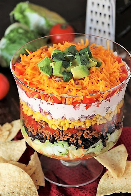 15+ Dinner Recipes with Ground Beef - Layered Taco Salad Image