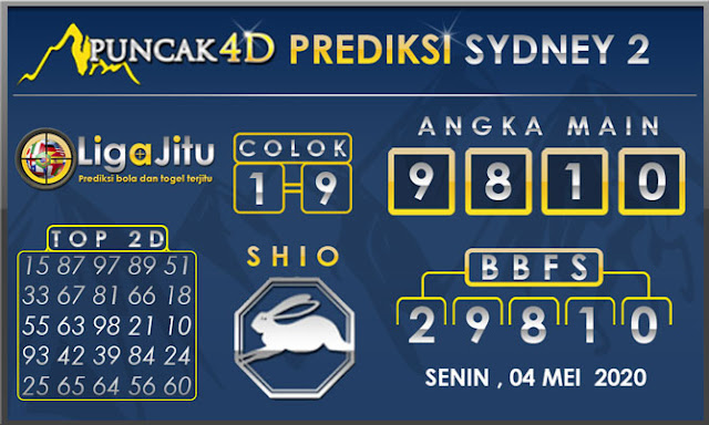PREDIKSI TOGEL SYDNEY2 PUNCAK4D 04 MEI 2020