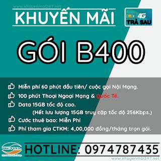 B400 - GÓI KHUYẾN MÃI TRẢ SAU VIETTEL B400