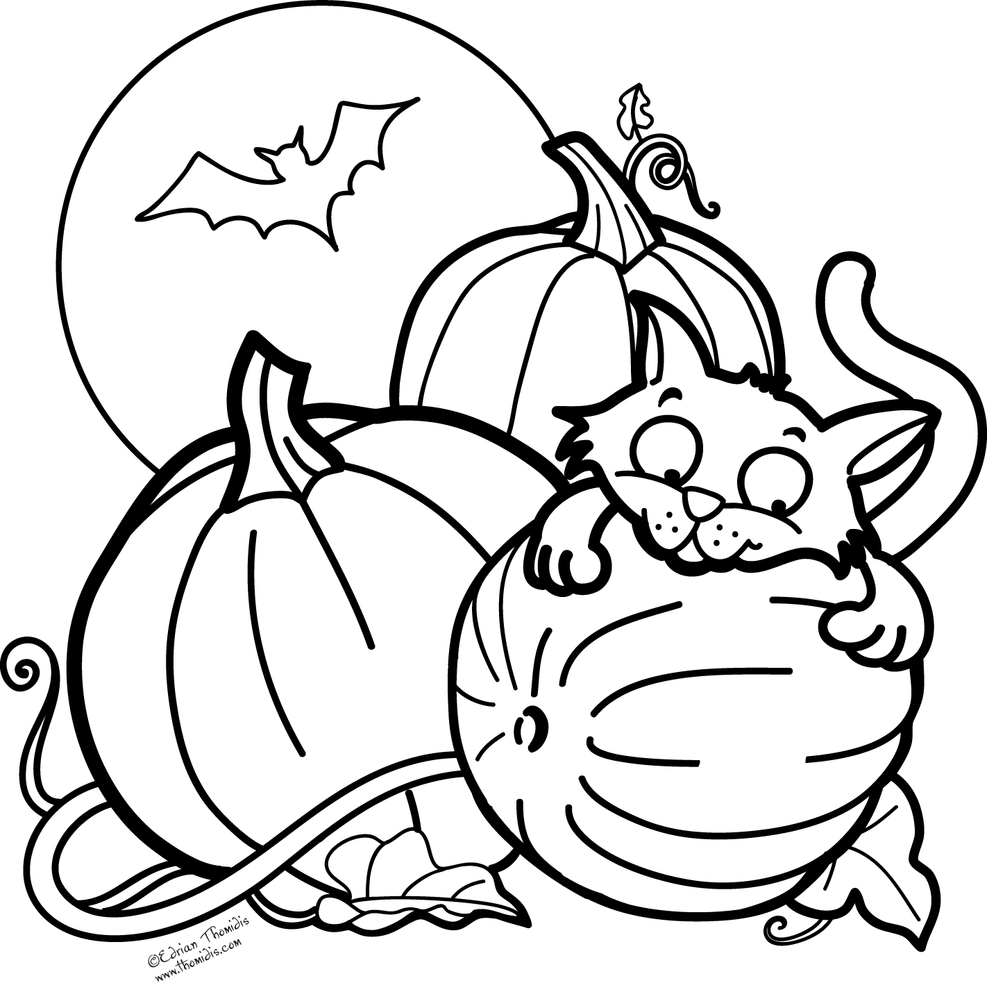 printable coloring pages halloween | A picture paints a thousand words: Pumpkin, Cat and a Bat ...