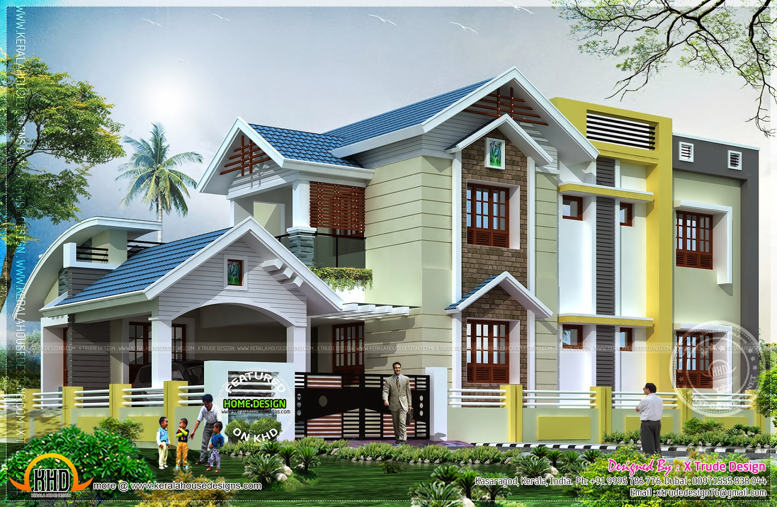 2401 square feet nice house renderings - Kerala home ...