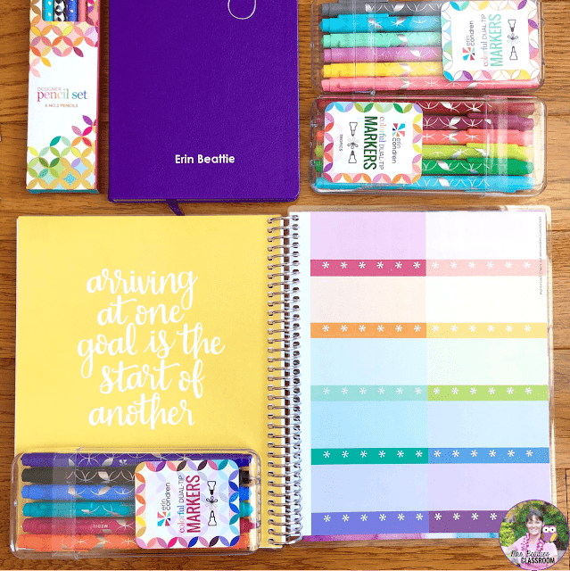 Journaling Supplies - Coiled Notebook with Stickers from Erin Condren