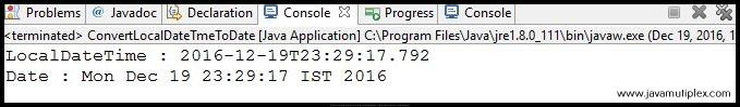 Output of Java program that converts LocalDateTime to Date.