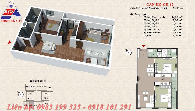 Thiết kế chung cư EcoGreen số 1 Giáp Nhị căn 12