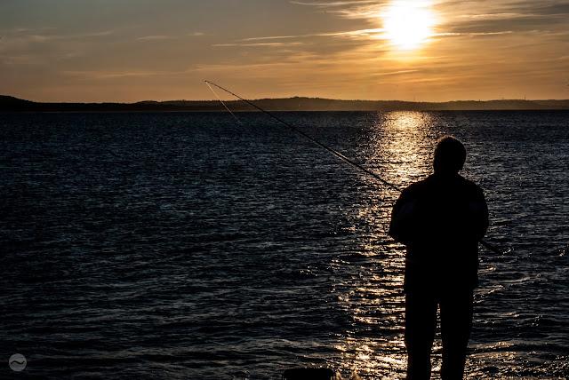 słońce, świnoujście, cień, zachód, zachód słońca, człowiek, wędka, morze,