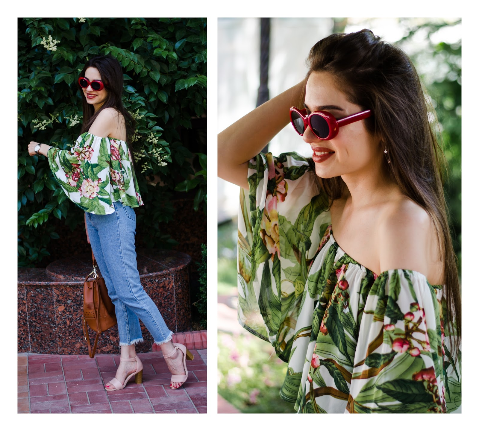diyorasnotes diyora beta fashion blogger style outfitoftheday lookoftheday mom jeans offshoulders top tropical print how to style offtheshoulders bucket bag heeled sandals fashion outfit