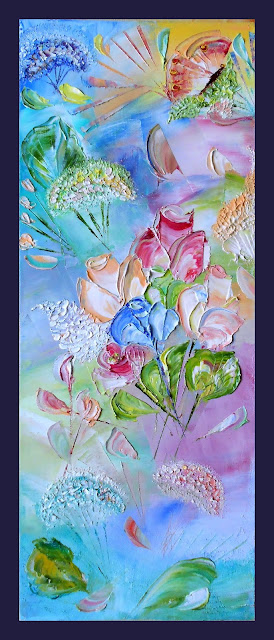"Original modern abstract Painting in handmade ""Flowers in the Spring"". Painting from Russia Oil on canvas, palette knife. 8""х 20"" x 0.8"" (20 sm x 50 sm x 2 sm). Buy and see other Russian modern art  Paintings you at: http://www.etsy.com/shop/PaintingInterior This original Painting  available in a variety of printed styles  at  http://painting.artistwebsites.com/"