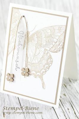 Stampin up Auslaufliste 2016; Stampin up Swallowtail; Glückwunschkarte Schmetterling; Workshopkarte stampinup; stempel-biene
