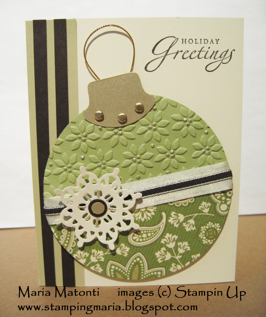 maria's stamping station christmas ornament card using