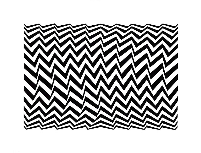 Bridget Riley art, zigzag