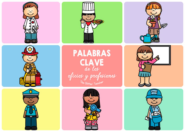 8 palabras clave del vocabulario clave de los oficios y profesiones: chef, doctor, firefighter, gardener, hairstylist, mail carrier, police officer y teacher.