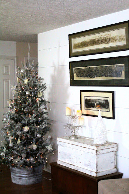 Christmas, Flocked Tree, Farmhouse, Cottage, Decorating, Military Panoramic, Cone Tree, Galvanized Tree Collar, Trunks