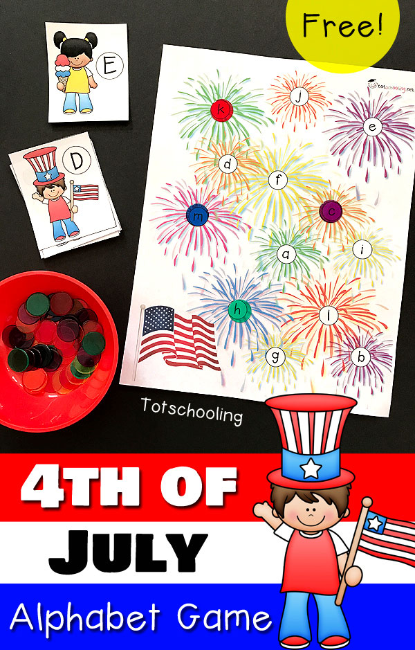 FREE printable 4th of July Alphabet game for preschoolers to practice letter recognition and letter cases. Fun patriotic game perfect for toddlers and preschool around Independence Day or Memorial Day!