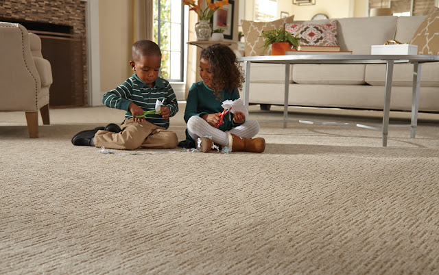 This textured carpet adds depth and pattern to the look of this room.