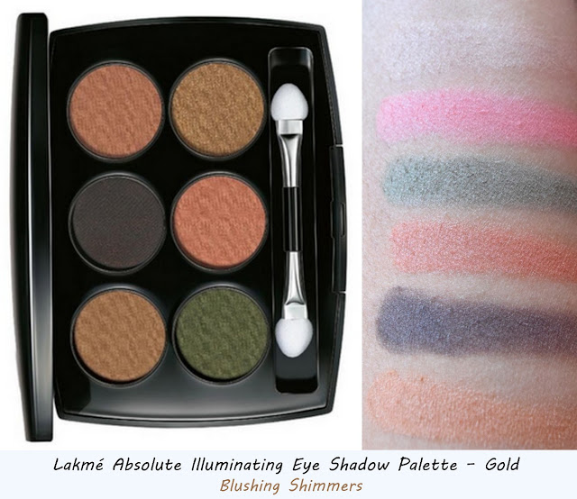 Lakme Absolute Illuminating gold Eye Shadow Palette swatches