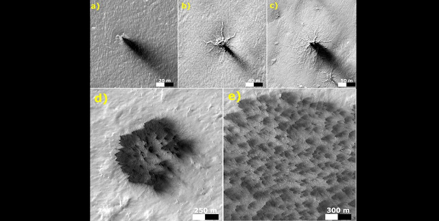 These five images from the HiRISE camera on NASA's Mars Reconnaissance Orbiter show different Martian features of progressively greater size and complexity, all thought to result from thawing of seasonal carbon dioxide ice that covers large areas near Mars' south pole during winter. Credits: NASA/JPL-Caltech/Univ. of Arizona